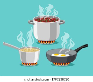 Cooking in home pans. Boiling pot and fried pan set, cartoon steel cooking pots with boiling soup and fried egg, concept of home dinner on stove, flaming gas burner heats kitchen ob