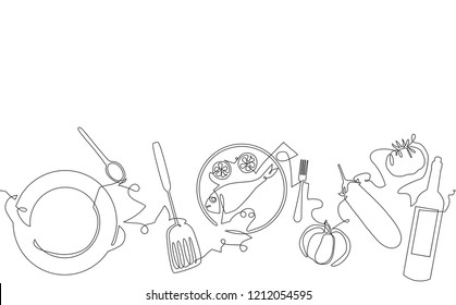 Cooking Horizintal Pattern. Backgraund with Fish on Plate, Utensils and Vegetables. Vector illustration.