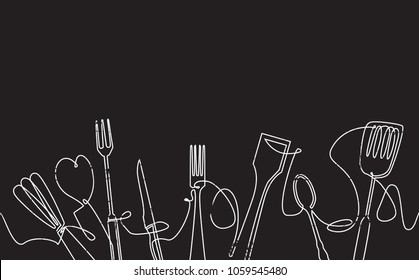 Cooking Horizontal Pattern. Background with Continuous drawing Utensils isolated on Black. Chalkboard style. Poster with Cutlery. Can be used for your Design Works. Vector illustration.