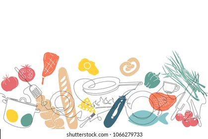 Cooking Horizontal Pattern. Utensils and Food Background.  Vegetables, Meat, Baking Produkts set. Continuous Drawing Cutlery. Vector illustration.