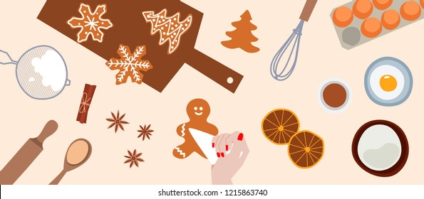 Cooking and icing ginger cookies. Process of decorating gingerbread. Culinary master class. Top view. Prepare christmas food. Vector flat cartoon style. Illustration for banner, advertising.