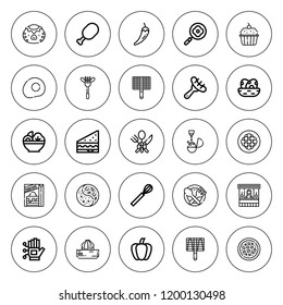 Cooking icon set. collection of 25 outline cooking icons with bbq grill, boiled, chili, cupcake, cutlery, food stand, food, frying pan, eggs, kappa icons. editable icons.