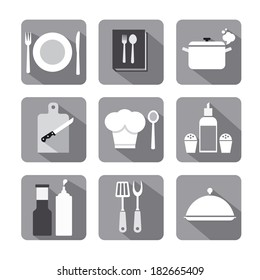 cooking icon set flat gray