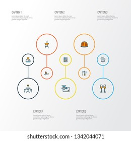 Cooking icons colored line set with kitchen table, spoon fork knife, wine glasses and other coffeemaker elements. Isolated vector illustration cooking icons.
