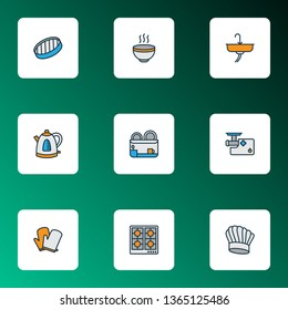 Cooking icons colored line set with kitchen gloves, dish dryer, chef hat and other colander elements. Isolated vector illustration cooking icons.