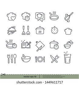 Cooking icons. design element. Boiling time, Frying pan and Kitchen utensils. Fork, spoon and knife line icons. Recipe book, chef hat and cutting board. Cooking book, frying time, hot pan. Vector