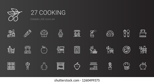 cooking icons set. Collection of cooking with pot, dinnerware, pepper, oven, apron, chef, stove, grill, bbq, menu, burning grill, healthy food. Editable and scalable cooking icons.