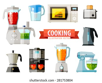 cooking icons. set of elements - food processor, microwave, electric kettle, toaster oven, mixer, kitchen, coffee machine, espresso, coffeemaker, blender, jug, water