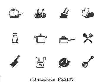 Cooking icons in single color