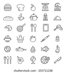 cooking icons, vector symbols