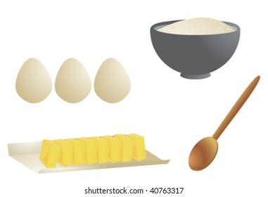 Cooking ingredients isolated - vector version