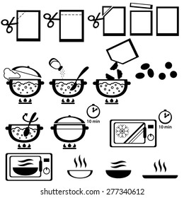 Cooking instruction for design of semi-finished products packing, vector.