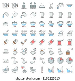 cooking instruction filled outline icon, material for use in package and container