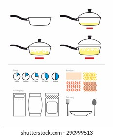 Cooking instruction with a frying pan. FRY on griddle. Set for manual cooking. Boiling oil. Includes products for cooking: pasta, shrimp. And packaging and cutlery. Vector illustration