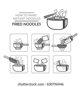 Cooking instruction icon set, instant noodles - fried noodles