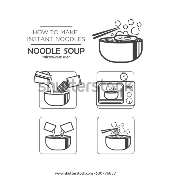 Cooking Instruction Icon Set Instant Noodles Stock Vector Royalty Free 630796859
