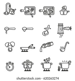 Cooking  instruction icon set for you kitchen, restaurant or menu. Line Style stock vector.