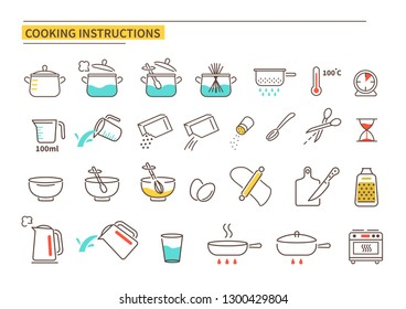 Cooking instruction icons. Line style vector illustration isolated on white background.