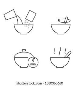 Cooking instruction for prepare cereal, oatmeal, flakes vector icons