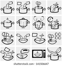 Cooking instruction vector icon set on gray