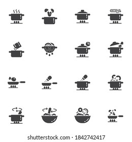 Cooking instruction vector icons set, food preparation modern solid symbol collection, filled style pictogram pack. Signs, logo illustration. Set includes icons as boiling pot on gas stove, frying pan