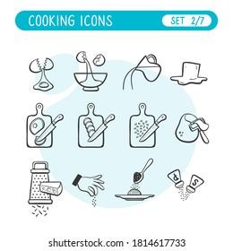 Juego de iconos de instrucciones de cocción. Muy útil para explicar las recetas de cocina. Estilo Doodle. Segunda parte de siete imágenes de colección completa.