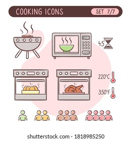 Cooking instructions icon set. Very useful to explain cooking recipes. Colorful hand drawn style. Seventh part of seven images full collection.