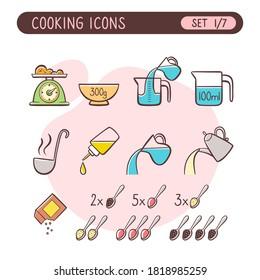 Juego de iconos de instrucciones de cocción. Muy útil para explicar las recetas de cocina. Colorido estilo dibujado a mano. Primera parte de siete imágenes de colección completa.