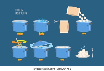 Cooking instructions. Infographics of boiling dumplings. Vector icons set.