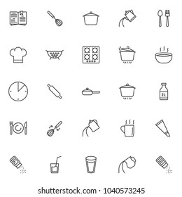 Cooking instructions outline icons set. linear style symbols collection, line signs pack. vector graphics. Set includes icons as cookbook, egg beater mixer, cooking pan, kettle pour water, spoon fork