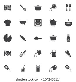 Cooking instructions vector icons set, modern solid symbol collection, filled style pictogram pack. Signs, logo illustration. Set includes icons as cookbook, egg beater mixer, cooking pan, spoon fork