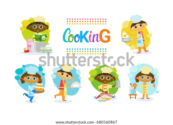 Cooking Kids Children Culinary Classes Hobby Stock Vector (Royalty