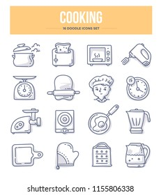 Cooking and kitchen appliance doodle vector icons for website and printing materials