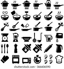 Cooking and kitchen icon collection - vector silhouette