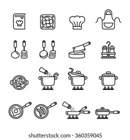 cooking, kitchen tools and utensils icons set. Line Style stock vector.