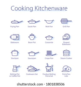 Cooking kitchenware concept. Frying, saute, wok, grill, crepe pan, fondue melting pot, saucepan lid thin line icons set. Modern home kitchen cookware utensils isolated linear vector illustrations