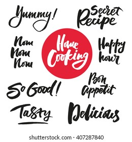 The cooking lettering designs for print and web projects. Banners, stickers, packaging. Food shop background. Modern calligraphy and hand lettering.