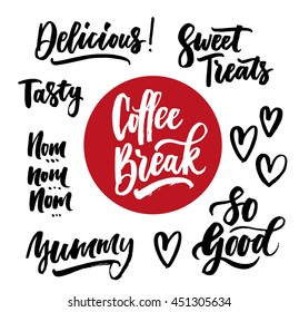 The cooking lettering designs for print and web projects. Banners, stickers, stamps, packaging. Food shop background. Modern calligraphy. Coffee break, tasty, delicious, sweet treats, yummy, so good.