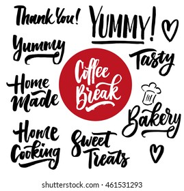 Cooking lettering designs for print and web projects. Banners, stickers, stamps, packaging. Food shop background. Modern calligraphy. Coffee break, tasty, delicious, sweet treats, yummy.
