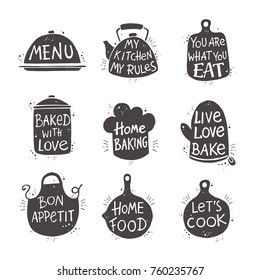 Cooking lettering set. Hand drawn vector illustration. Can be used for badges, labels, logo, bakery, street festival, farmers market, country fair, shop, kitchen classes, cafe, food studio.