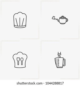 Cooking line icon set with cooker hat, tea pot  and blender