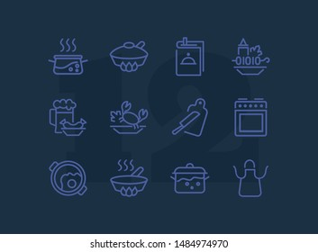 Cooking line icon set. Set of line icons on white background. Kitchenware concept. Knife, frying pan, stewing. Vector illustration can be used for topics like cooking, food, kitchen