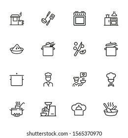 Cooking line icon set. Kitchen appliances, preparing food, chef. Recipe concept. Can be used for topics like kitchen, cooking course, restaurant