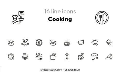 Cooking line icon set. Saucepan, dish, cook. Food concept. Can be used for topics like restaurant, menu, gourmet