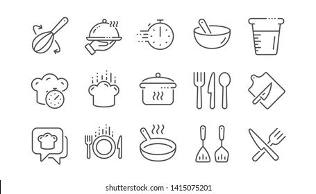 Cooking line icons. Boiling time, Frying pan and Kitchen utensils. Fork, spoon and knife line icons. Recipe book, chef hat and cutting board. Linear set. Vector