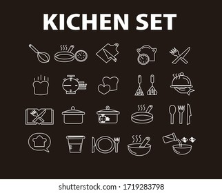 Cooking line icons. Boiling time, Frying pan and Kitchen utensils. Fork, spoon and knife line icons. Recipe book, chef hat and cutting board. Cooking book, frying time, hot pan. Vector,SIMPLE