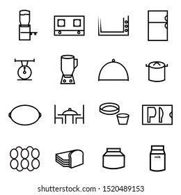 Cooking line icons.  gallons, gas stoves, heaters, refrigerators, scales, blenders, food hoods, pans, plates, dining tables, knives, placemat, eggs, bread, jams,. Vector