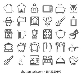 Cooking line icons. Line icon set of Cooking elements. Chef cooking. Contains such Icons as Kitchen Utensils, Boiling and Frying Time, Cookbook and more.