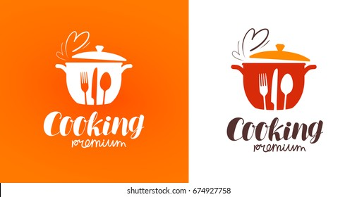 Cooking logo. Icon or symbol for design menu restaurant. Vector illustration