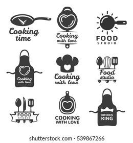cooking logos set food studio vector logo concept kitchen tools food icon - Kitchen Logo